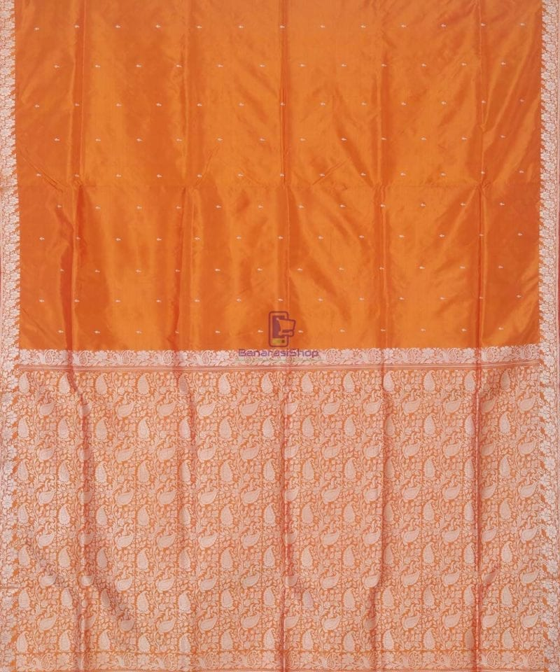 Banarasi Pure Handloom Yam Orange Katan Silk Saree 2