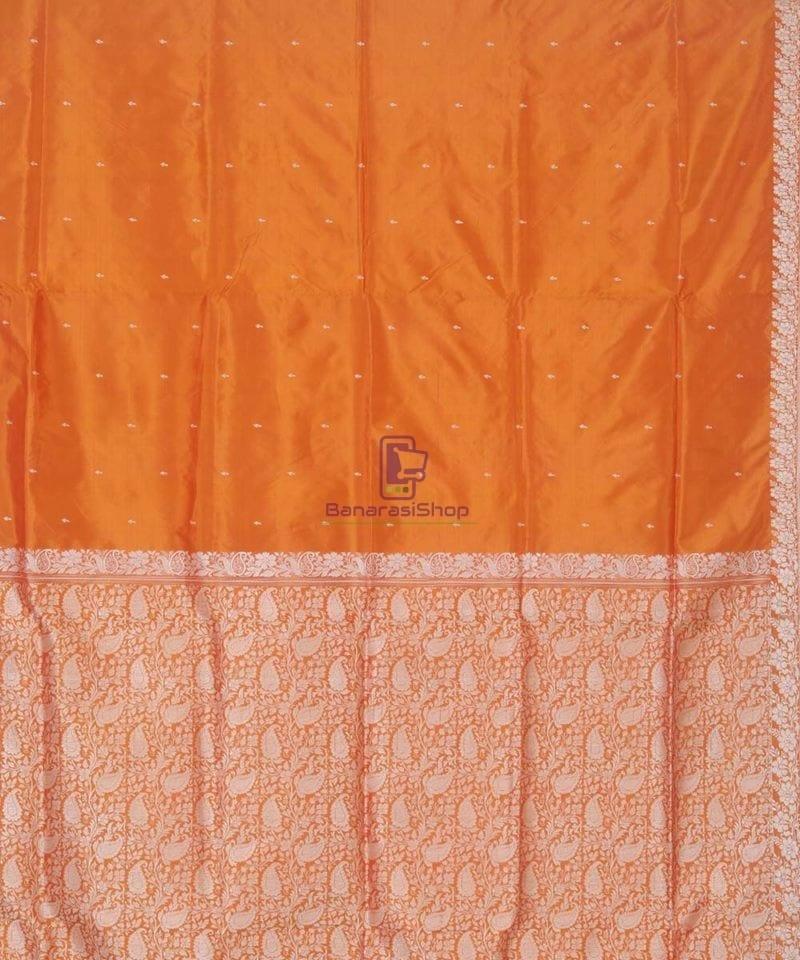 Banarasi Pure Handloom Yam Orange Katan Silk Saree 3