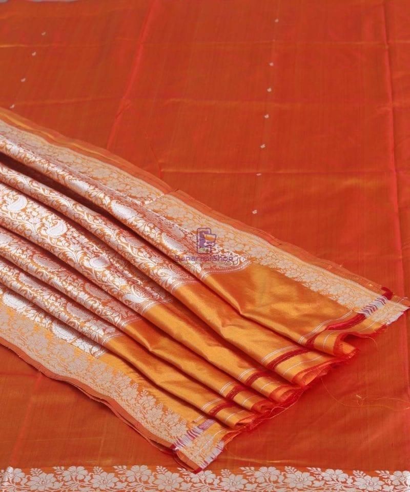Banarasi Pure Handloom Yam Orange Katan Silk Saree 1