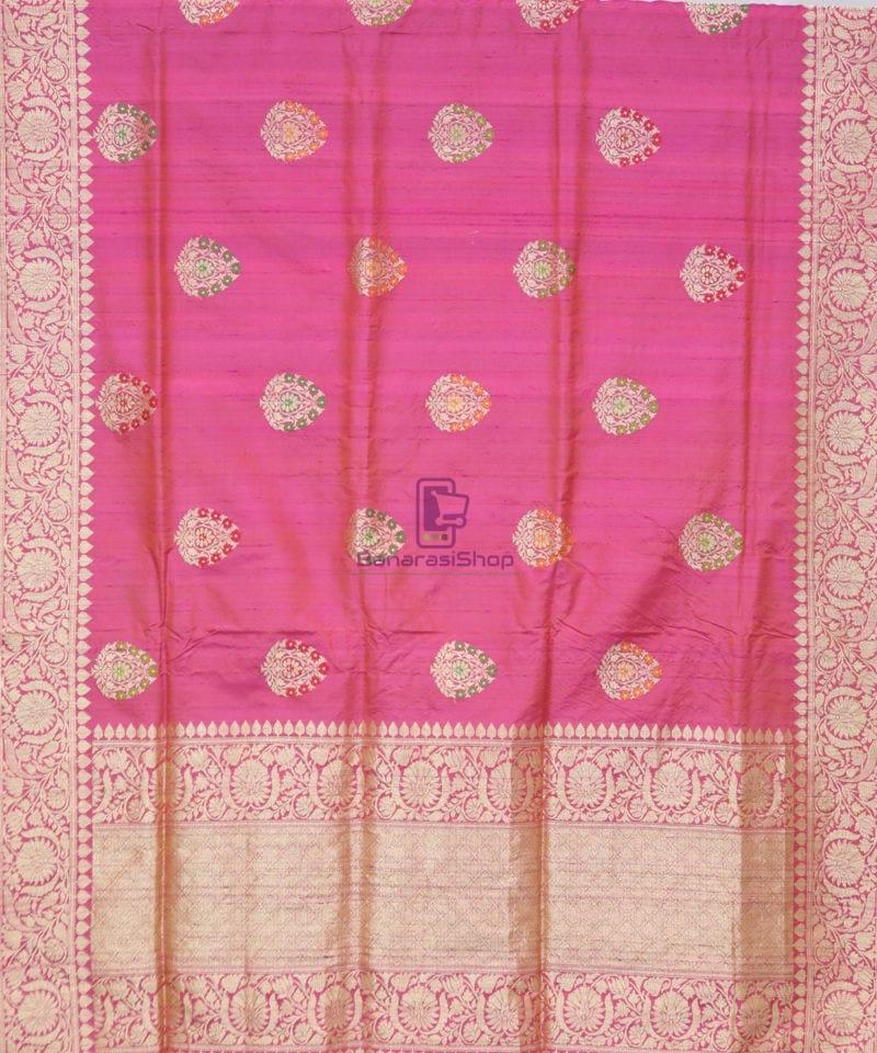 Pure Banarasi Tussar Silk Minedar Handwoven Magenta Saree 1