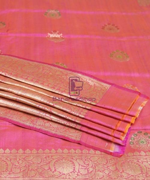 Pure Banarasi Tussar Silk Minedar Handwoven Magenta Saree 5