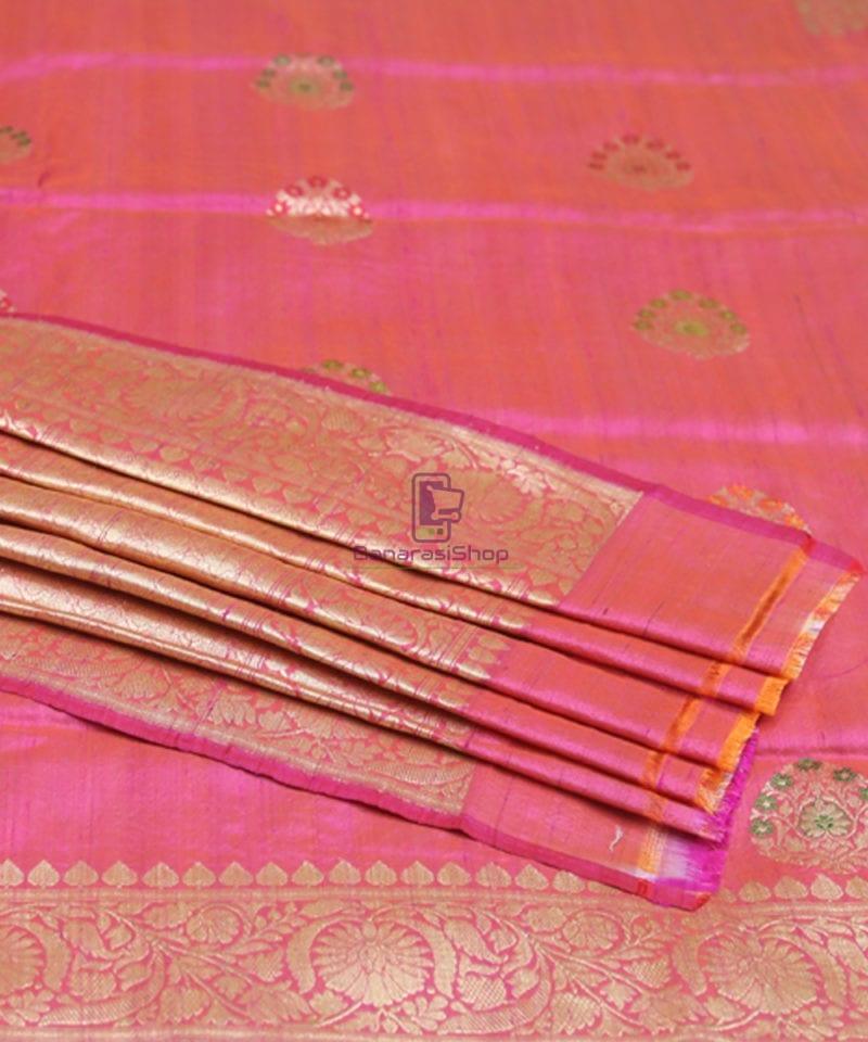Pure Banarasi Tussar Silk Minedar Handwoven Magenta Saree 2