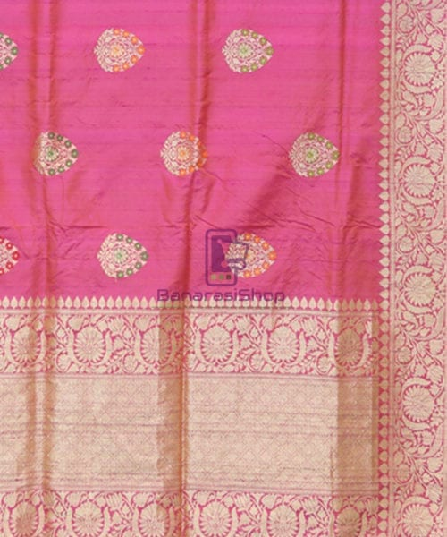 Pure Banarasi Tussar Silk Minedar Handwoven Magenta Saree 6