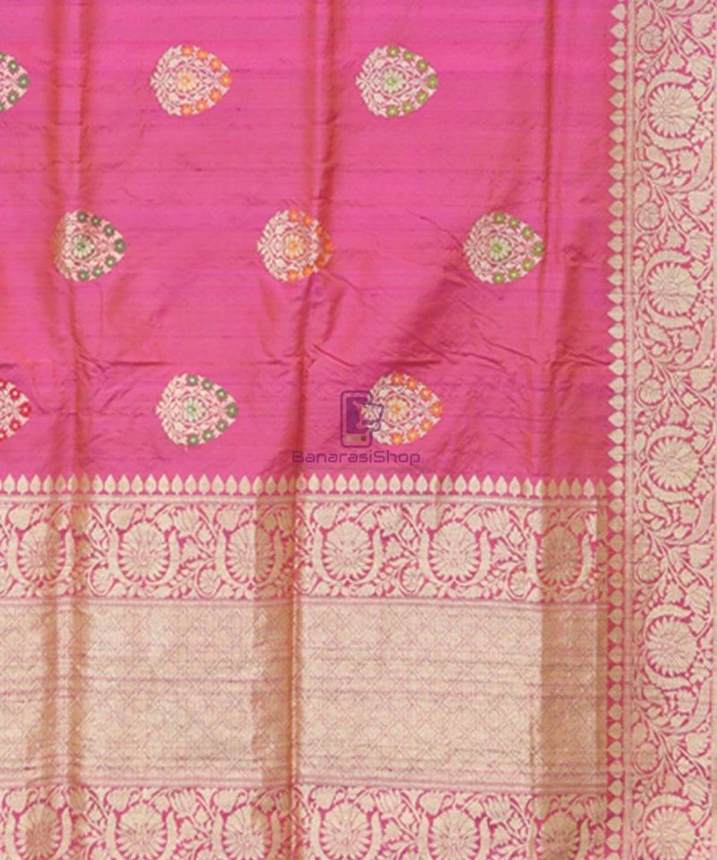 Pure Banarasi Tussar Silk Minedar Handwoven Magenta Saree 3