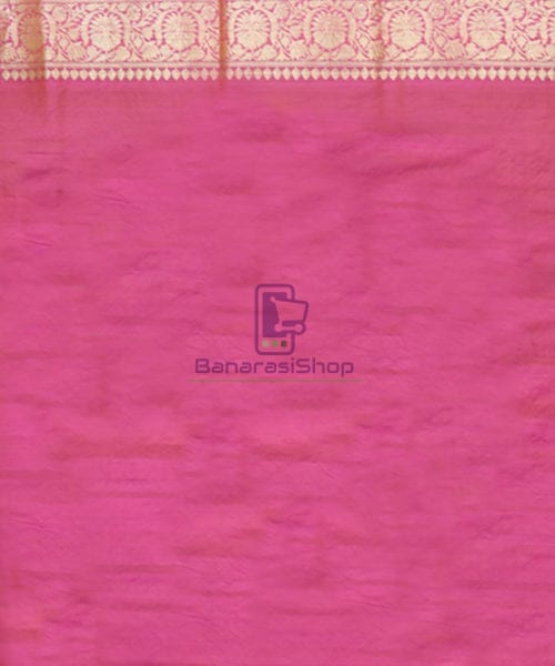 Pure Banarasi Tussar Silk Minedar Handwoven Magenta Saree 7