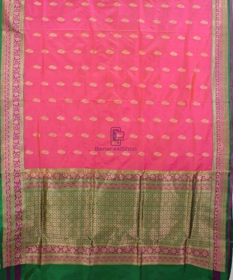 Banarasi Pure Katan Silk Handloom Saree in Pink and Green 1