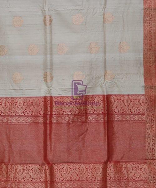 Pure Banarasi Tussar Handwoven Cloud Grey Silk Saree 5