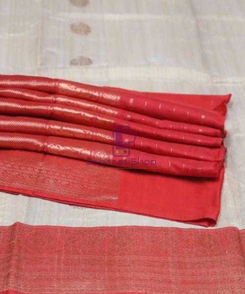 Pure Banarasi Tussar Handwoven Cloud Grey Silk Saree 7