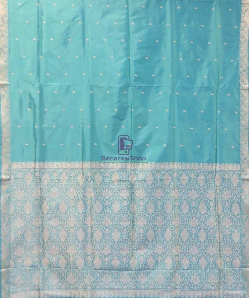 Banarasi Pure Handloom Cerulean Blue Katan Saree 2