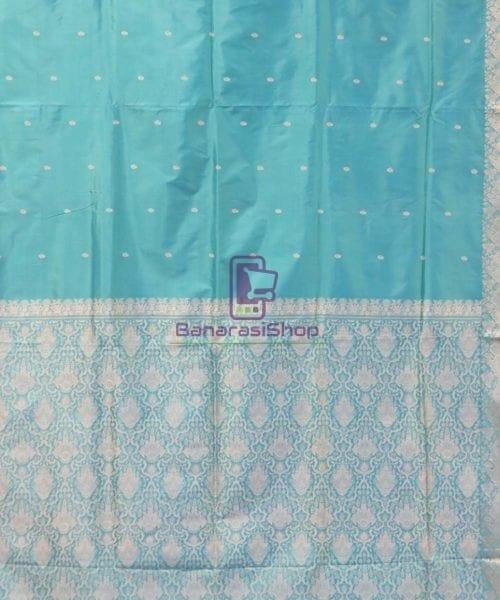 Banarasi Pure Handloom Cerulean Blue Katan Saree 5