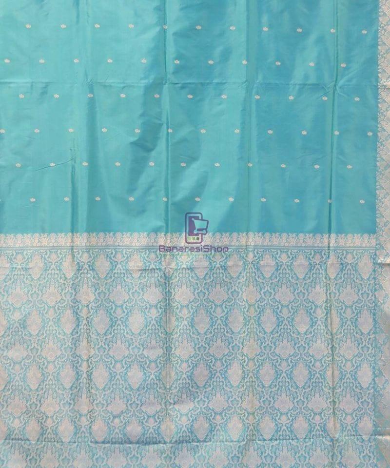Banarasi Pure Handloom Cerulean Blue Katan Saree 3
