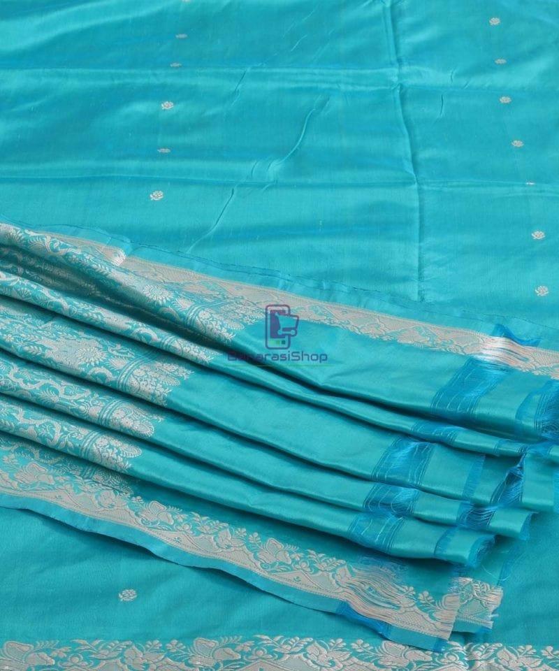 Banarasi Pure Handloom Cerulean Blue Katan Saree 1