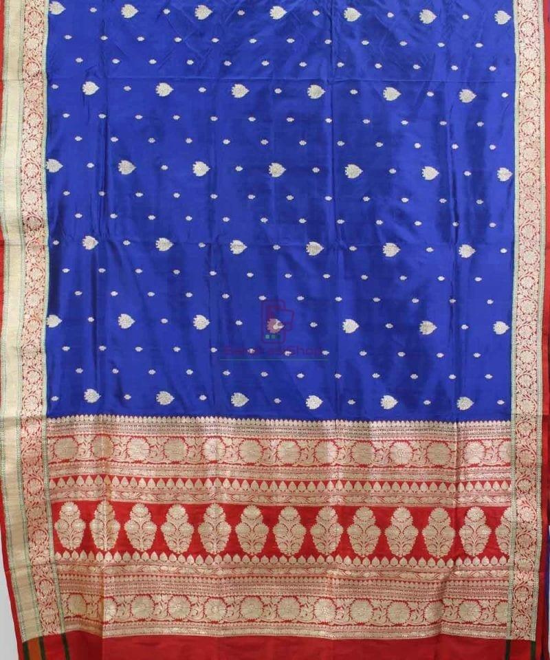 Banarasi Pure Katan Silk Handloom Royal Blue Saree 1
