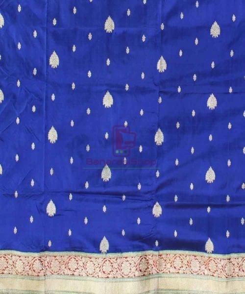 Banarasi Pure Katan Silk Handloom Royal Blue Saree 4