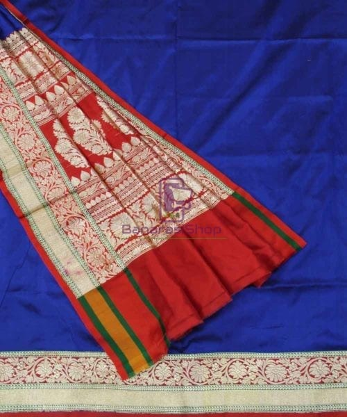 Banarasi Pure Katan Silk Handloom Royal Blue Saree 5