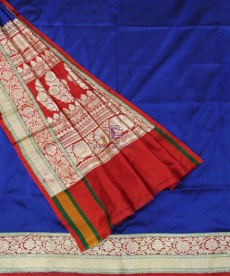 Banarasi Pure Katan Silk Handloom Royal Blue Saree 3