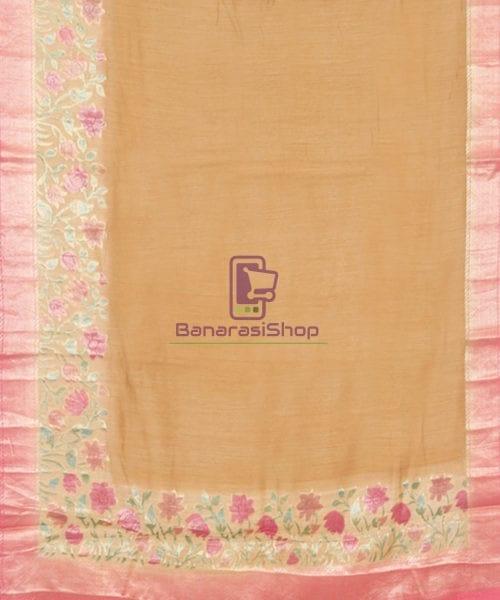 Woven Pure Banarasi Handpainted Muga Silk Biscotti Brown Saree 5