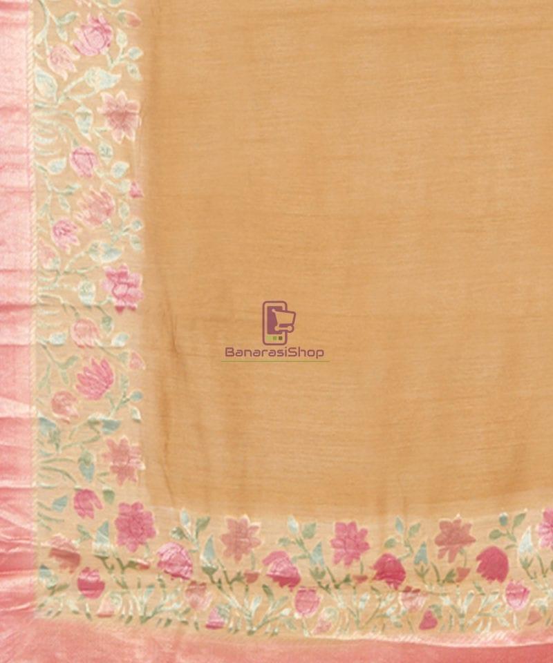 Woven Pure Banarasi Handpainted Muga Silk Biscotti Brown Saree 3