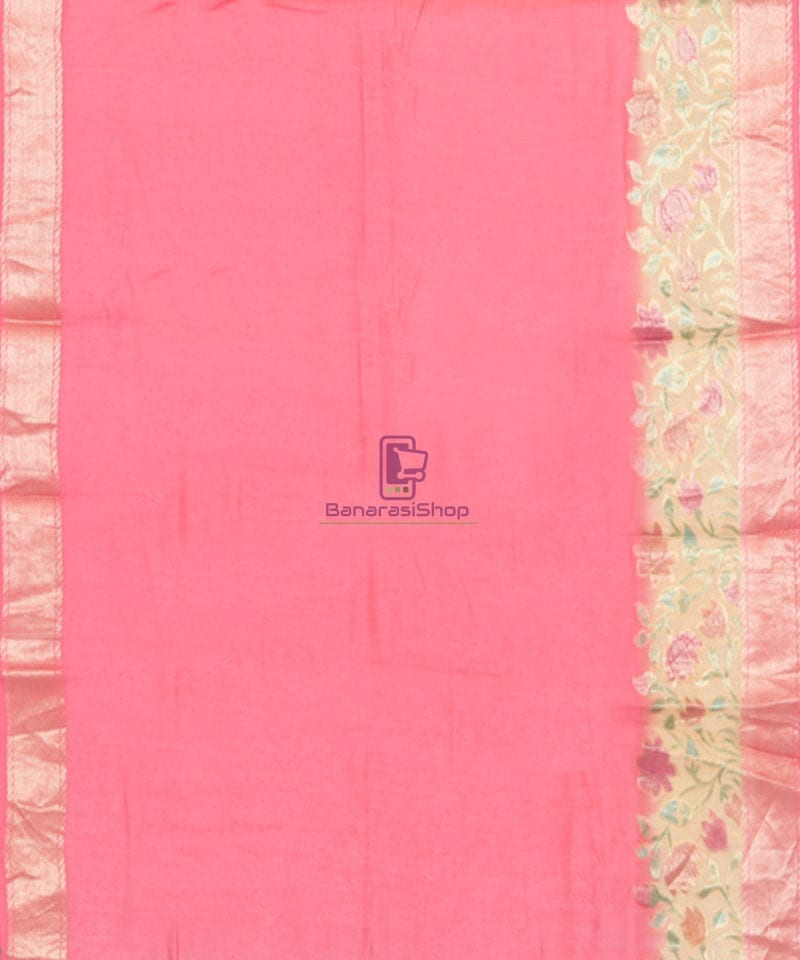 Woven Pure Banarasi Handpainted Muga Silk Biscotti Brown Saree 4