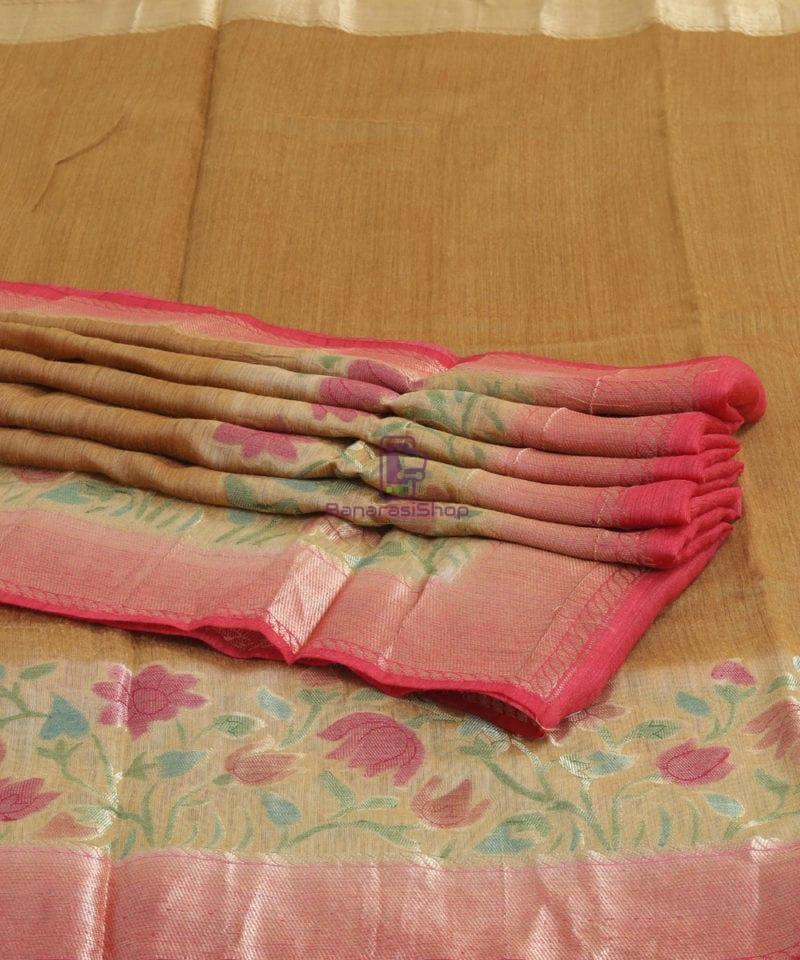 Woven Pure Banarasi Handpainted Muga Silk Biscotti Brown Saree 1