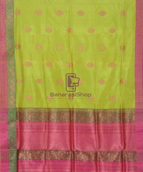 Banarasi Pure Handloom Lime Green Katan Silk Saree 5