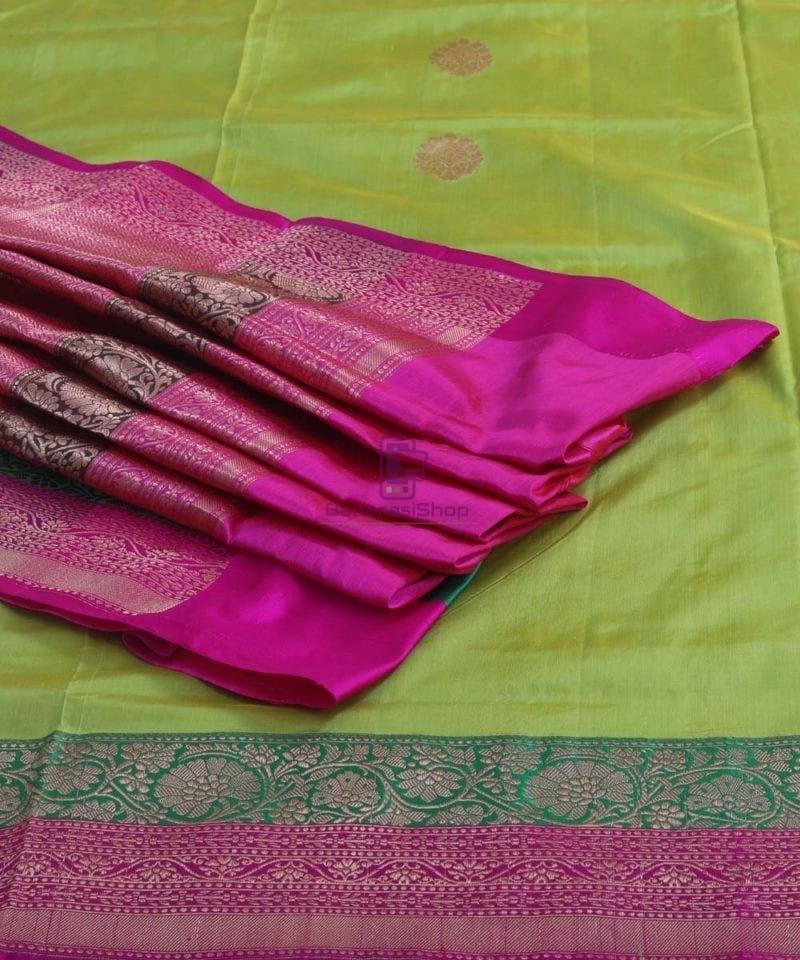 Banarasi Pure Handloom Lime Green Katan Silk Saree 1