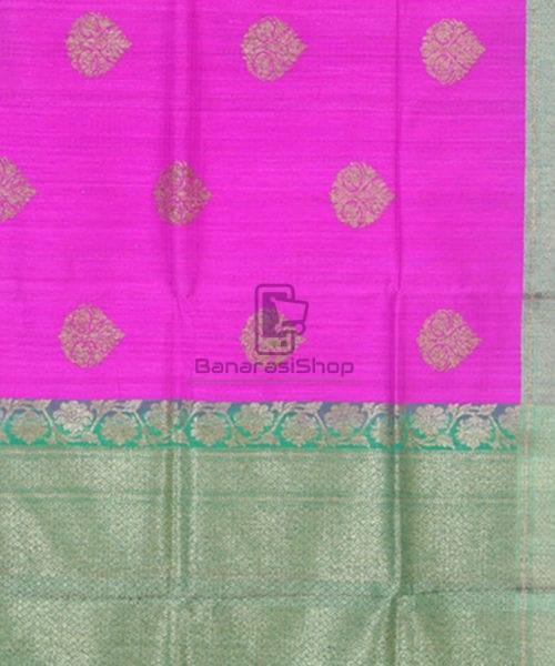 Banarasi Pure Handloom Dupion Silk Taffy Pink Saree 6