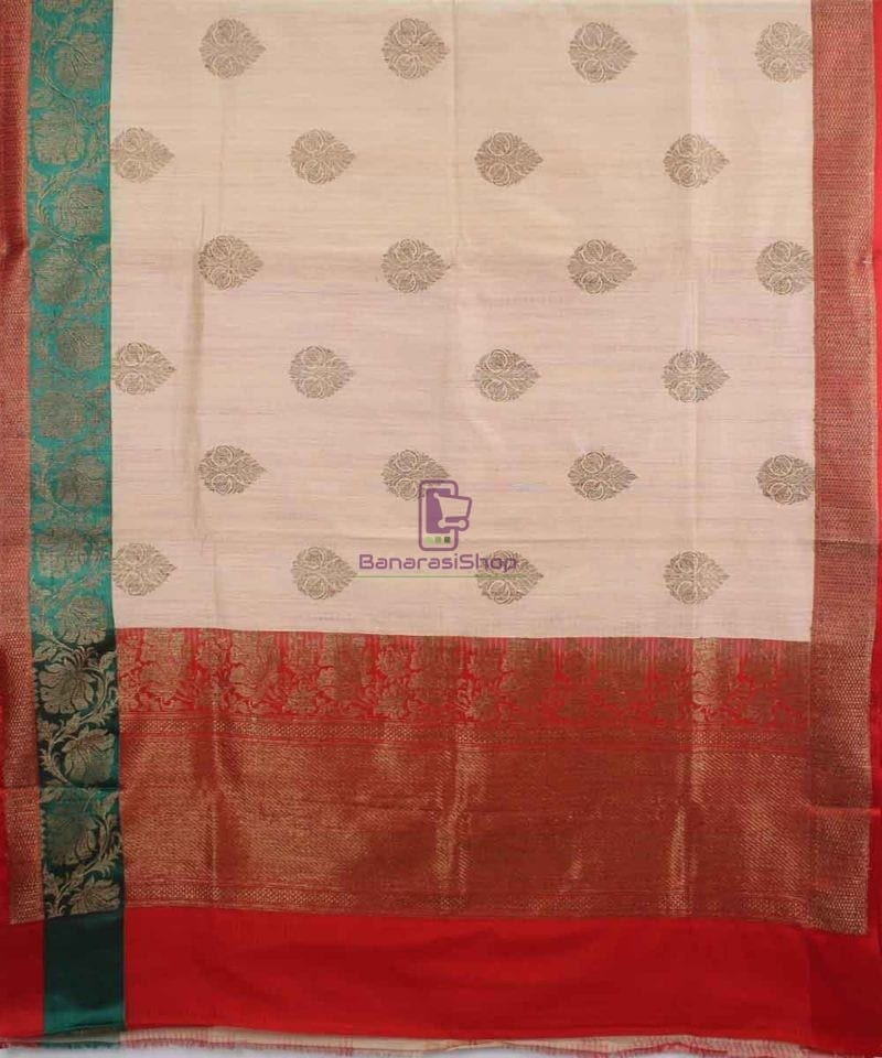 Banarasi Pure Handloom Dupion Silk Cream Saree 1