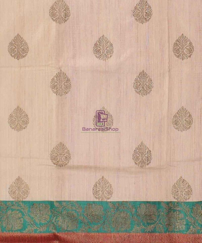 Banarasi Pure Handloom Dupion Silk Cream Saree 2