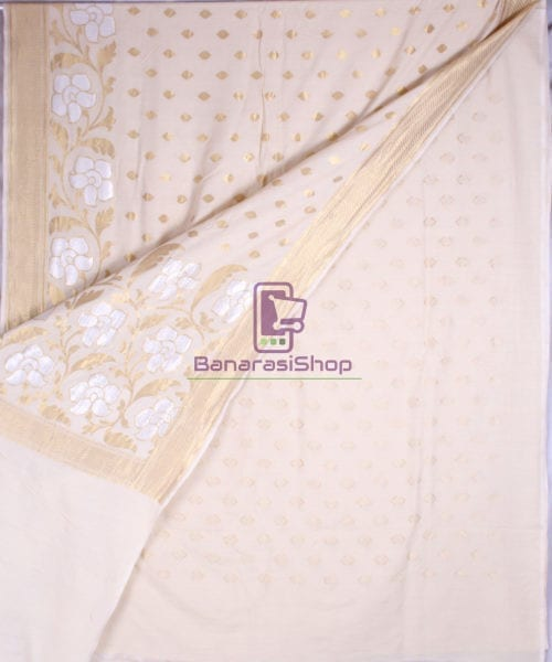 Handwoven Banarasi Muga Silk Saree in Natural Color 4