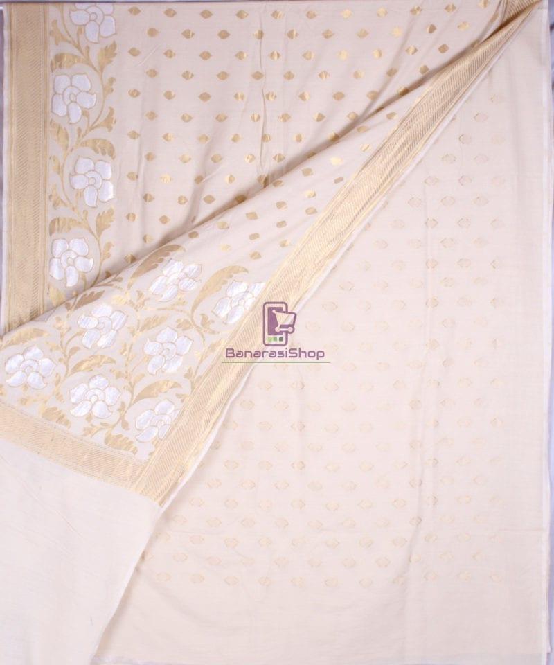 Handwoven Banarasi Muga Silk Saree in Natural Color 2