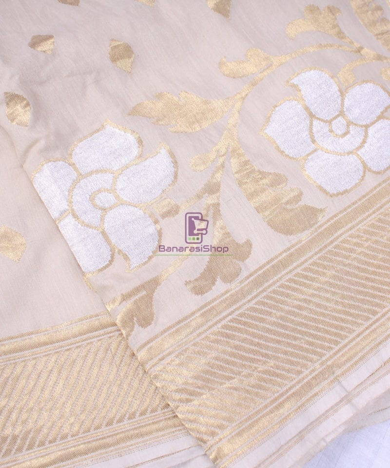 Handwoven Banarasi Muga Silk Saree in Natural Color 1