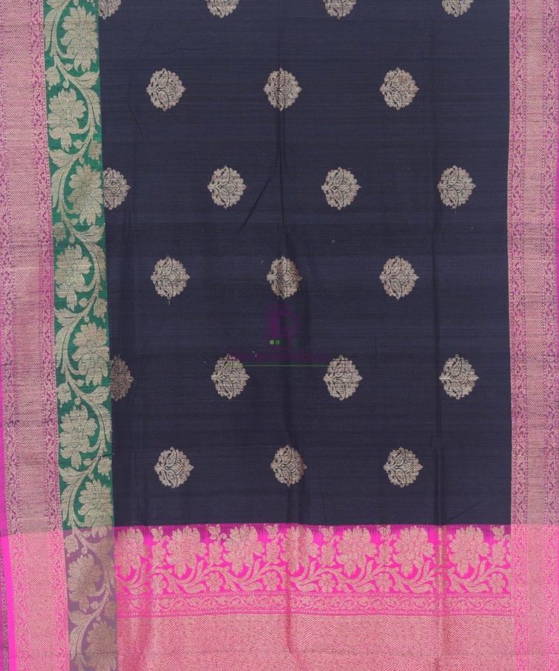 Banarasi Pure Handloom Dupion Silk Black Saree 1