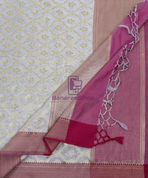 Banarasi Art Silk Off White Dupatta 5