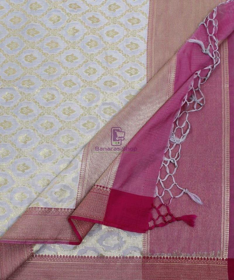 Banarasi Art Silk Off White Dupatta 3