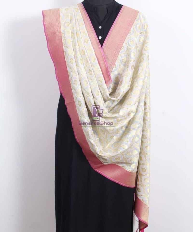 Banarasi Art Silk Off White Dupatta 2
