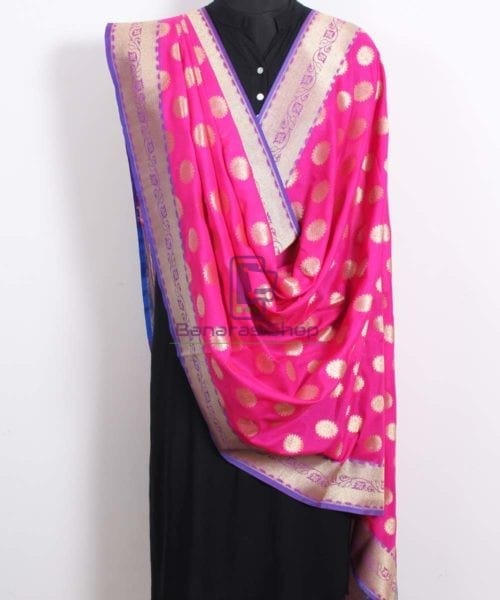 Banarasi Art Silk Pink Dupatta 4