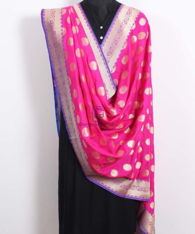 Banarasi Art Silk Pink Dupatta 2