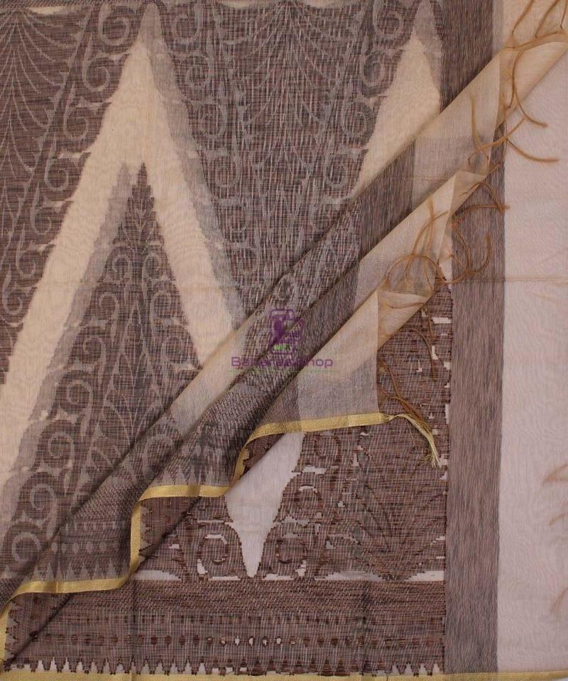 Banarasi Cotton Silk Beige and Black Dupatta 3
