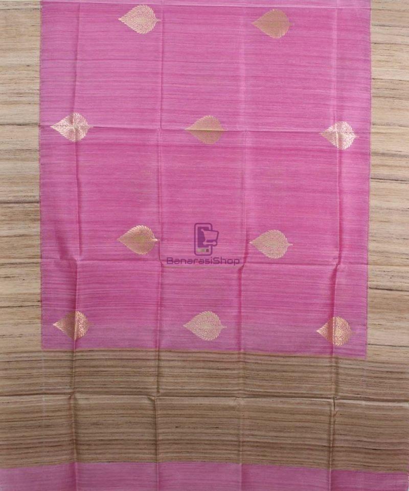 Banarasi Pure Dupion Silk Handloom Pink Dupatta With Khichha Pallu 1