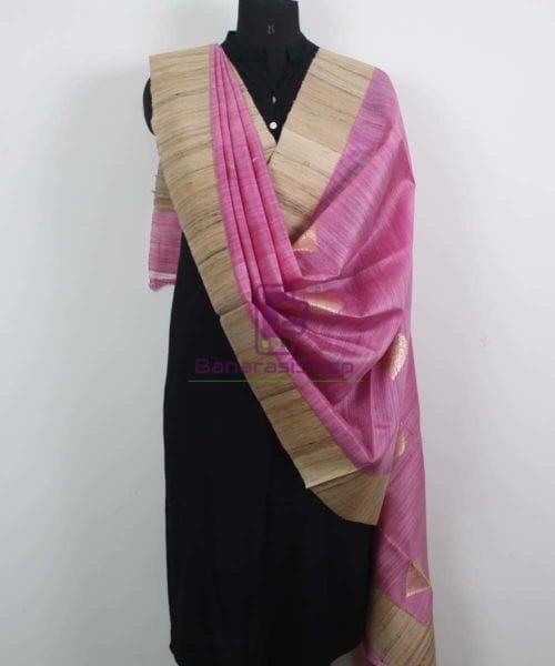 Banarasi Pure Dupion Silk Handloom Pink Dupatta With Khichha Pallu 4