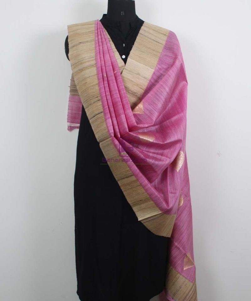 Banarasi Pure Dupion Silk Handloom Pink Dupatta With Khichha Pallu 2
