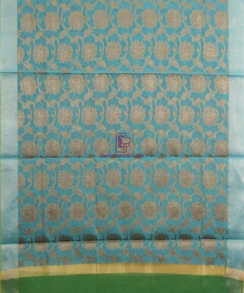 Banarasi Cotton Silk Jaal Blue Green Dupatta 1