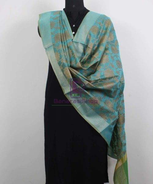 Banarasi Cotton Silk Jaal Blue Green Dupatta 4