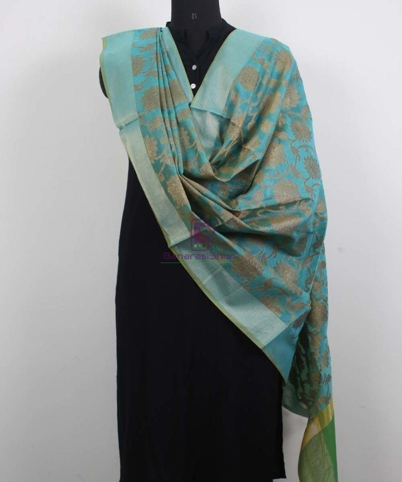 Banarasi Cotton Silk Jaal Blue Green Dupatta 2