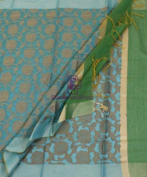 Banarasi Cotton Silk Jaal Blue Green Dupatta 5