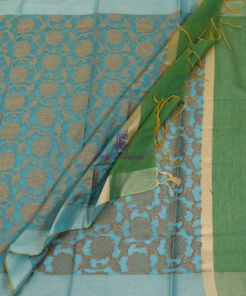 Banarasi Cotton Silk Jaal Blue Green Dupatta 3