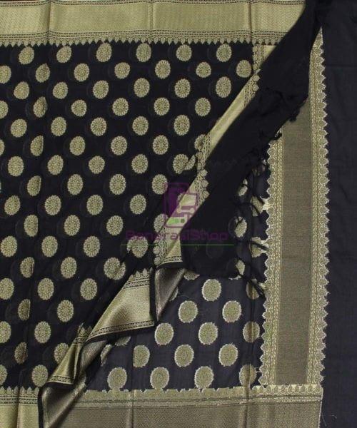 Banarasi Art Silk Black Dupatta 5