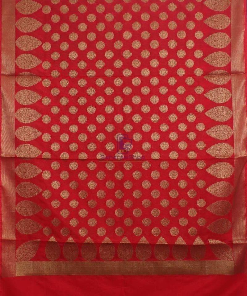 Banarasi Art Silk Antique Gold Zari Buti Dupatta in Red 1