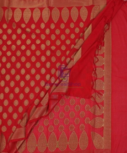 Banarasi Art Silk Antique Gold Zari Buti Dupatta in Red 5
